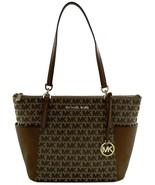 Michael Kors Bedford Shoulder Tote Bag Beige Brown Logo Jacquard Canvas ... - $251.39