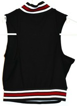 Missguided Women's Black White Maroon Racer Neck 1/2 Zip Crop Tank Top Size 4 image 2