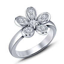 925 Sterling Silver 14k White Gold Over Round Cut CZ Women's Flower Wedding Ring - $61.77