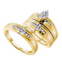 14k Yellow Gold His Hers Round Diamond Cluster Matching Bridal Wedding Ring Set - $1,000.00