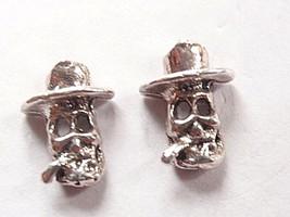 Cigar Smoking Skull 925 Sterling Silver Stud Earrings Corona Sun Jewelry - $3.30