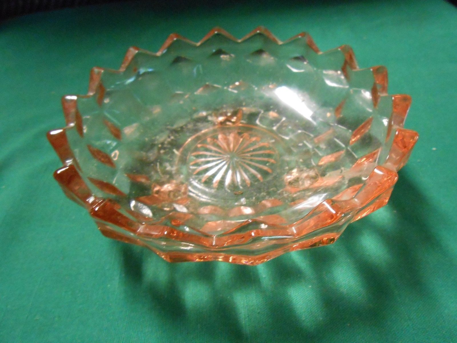 """Outstanding Cubist 3 Footed PINK """"Candy-Nut Dish """" 3 Footed ??? Fostoria - $8.03"""