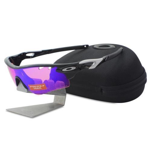 Oakley OO9181-41 RADARLOCK Polished Black Prizm Trail & Clear Sport Sunglasses