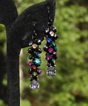 Festive Vintage Multi Color Rhinestone Cha Cha Dangle Pierced Earrings - $48.00