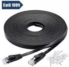 Cat 6 Ethernet Cable 100 Ft With Cable Clips - Flat Internet Network Ca... - $45.43