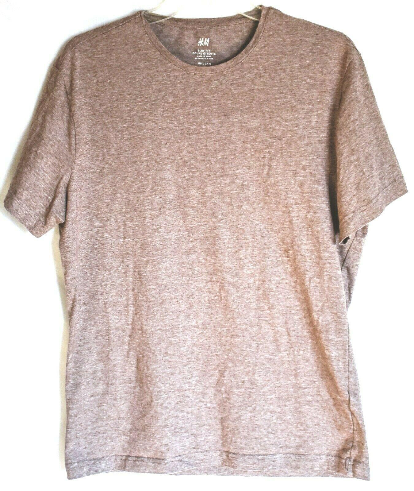 H&M Men's Slim Fit Heathered Brown Crew Neck T-Shirt Size L