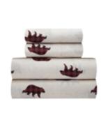 Buffalo Plaid Bear Sheet Set King or Queen Rustic Camp Lodge Lake Decor - $71.61+