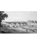FRANCE Paris Bridge Pont Louis XVI  - 1821 Engraving Print Cpt. Batty - $12.60