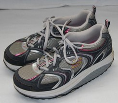 Skechers Shape Ups Shoes Womens 8.5 8 1/2 Navy Silver Pink 11806 - £23.58 GBP