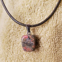 """Necklace with Unakite Polished Stone Pendant, natural gemstone jewelry, 18"""" cord"""