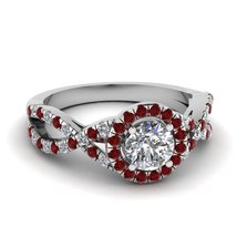 Red, White Diamond Solid 925 Silver Womens Engagement Ring Selectable Ri... - $159.99