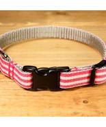 Mod Stripe Pink Grosgrain Adjustable Cat Collar / Made in Japan - $22.00