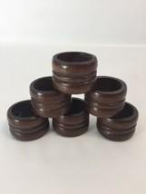 Set of 6 Varnished Wood Wooden Napkin Ring Hold... - $18.61