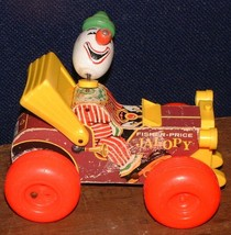 Vintage 1965 Fisher-Price  Wooden Jalopy clown Car Pull Toy #724 Made in USA - $13.85