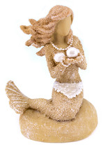 Sand and Shell Mermaid Holding Pearl Tabletop Figurine 3.25 Inches - £17.82 GBP