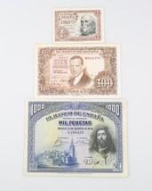 1928 1000 Pesetas, 1953 100 Pesetas, 1953 1 Peseta Banco de Espana Note Lot - $84.15