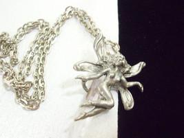 Pewter FAIRY Clear Crystal QUARTZ Pendant Necklace Dainty Vintage Estate Fantasy - $34.60