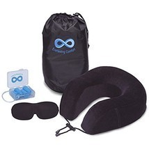 100% Pure Memory Foam Neck Pillow Airplane Travel Kit With Ultra Plush V... - €22,20 EUR