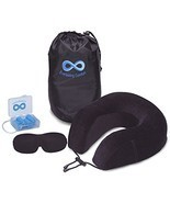 100% Pure Memory Foam Neck Pillow Airplane Travel Kit With Ultra Plush V... - €21,99 EUR