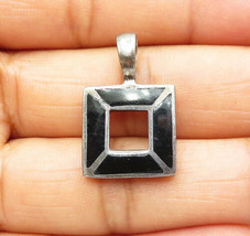 925 Sterling Silver - Vintage Petite Black Onyx Inlay Open Square Pendan... - $22.40