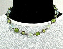 Delicate Chartruese Green and Clear Glass Framed Bead Necklace Lightweight  - $14.99