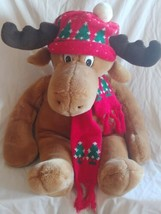 "Vtg 22"" Reindeer Christmas Plush Stuffed Animal Hat Scarf 1986 - $34.60"