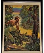1940's Lithograph, Garden of Eden, Unique, Vintage,Colorful, Rare - $125.00