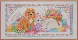 "Bucilla ""Playful Pals"" Puppy Kitten Yarn Stamped Cross Stitch Kit 40488 Gillum - $24.95"