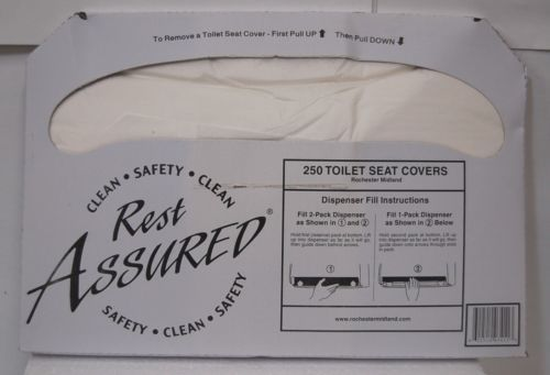 Rochester Midland 25177673 Rest Assured Toilet Seat Covers 5000 Count Half Fold