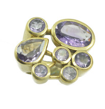 appealing Amethyst CZ Gold Plated Purple Ring genuine supply US gift - $22.99