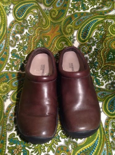 MERRELL ORTHOLITE AIR CUSHION WOMEN'S SIZE 7M SHOES BROWN LEATHER SLIP ON MULES