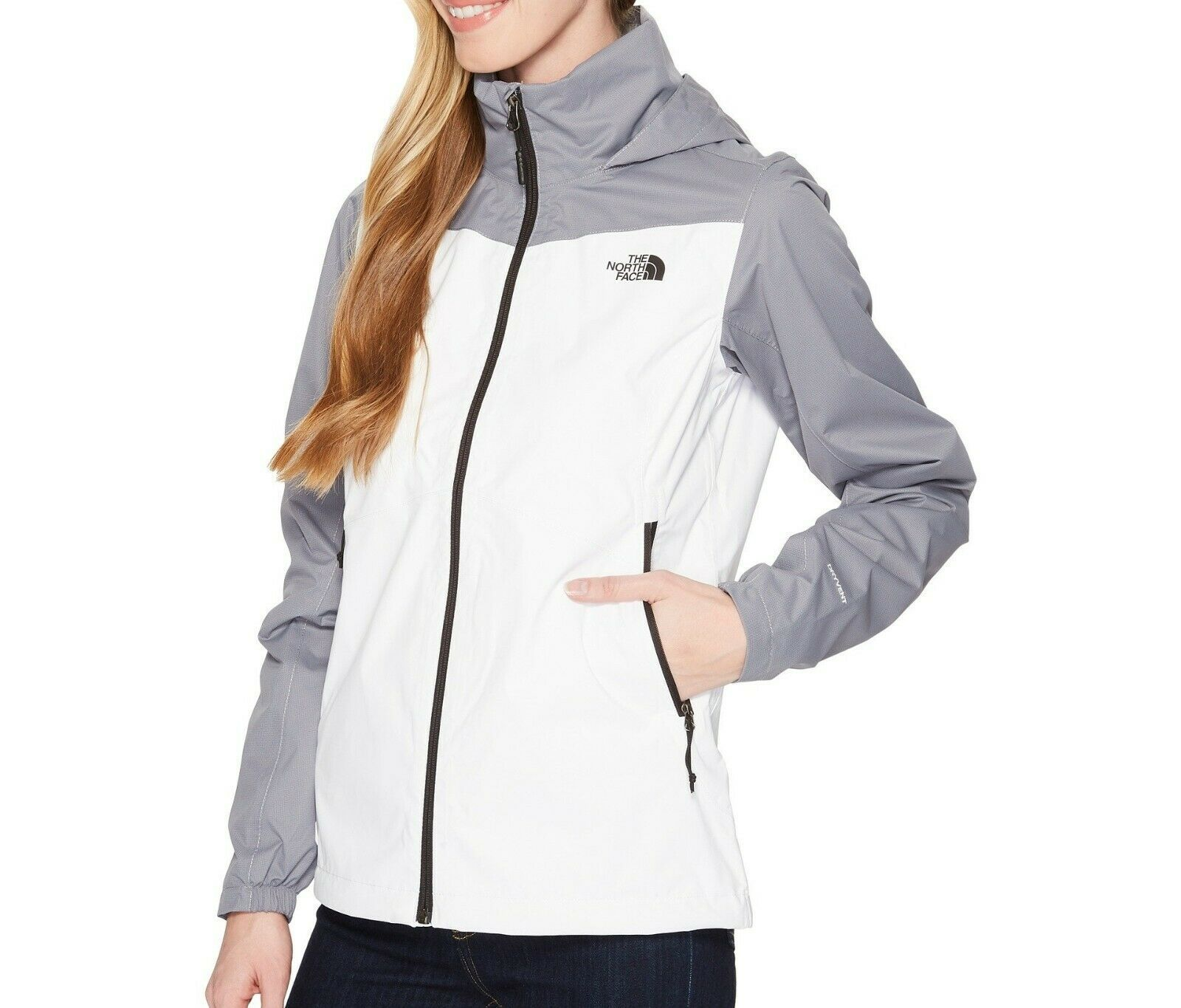 NWT THE NORTH FACE WOMEN/'S RESOLVE PLUS JACKET TNF WHITE MID GREY DOBBY