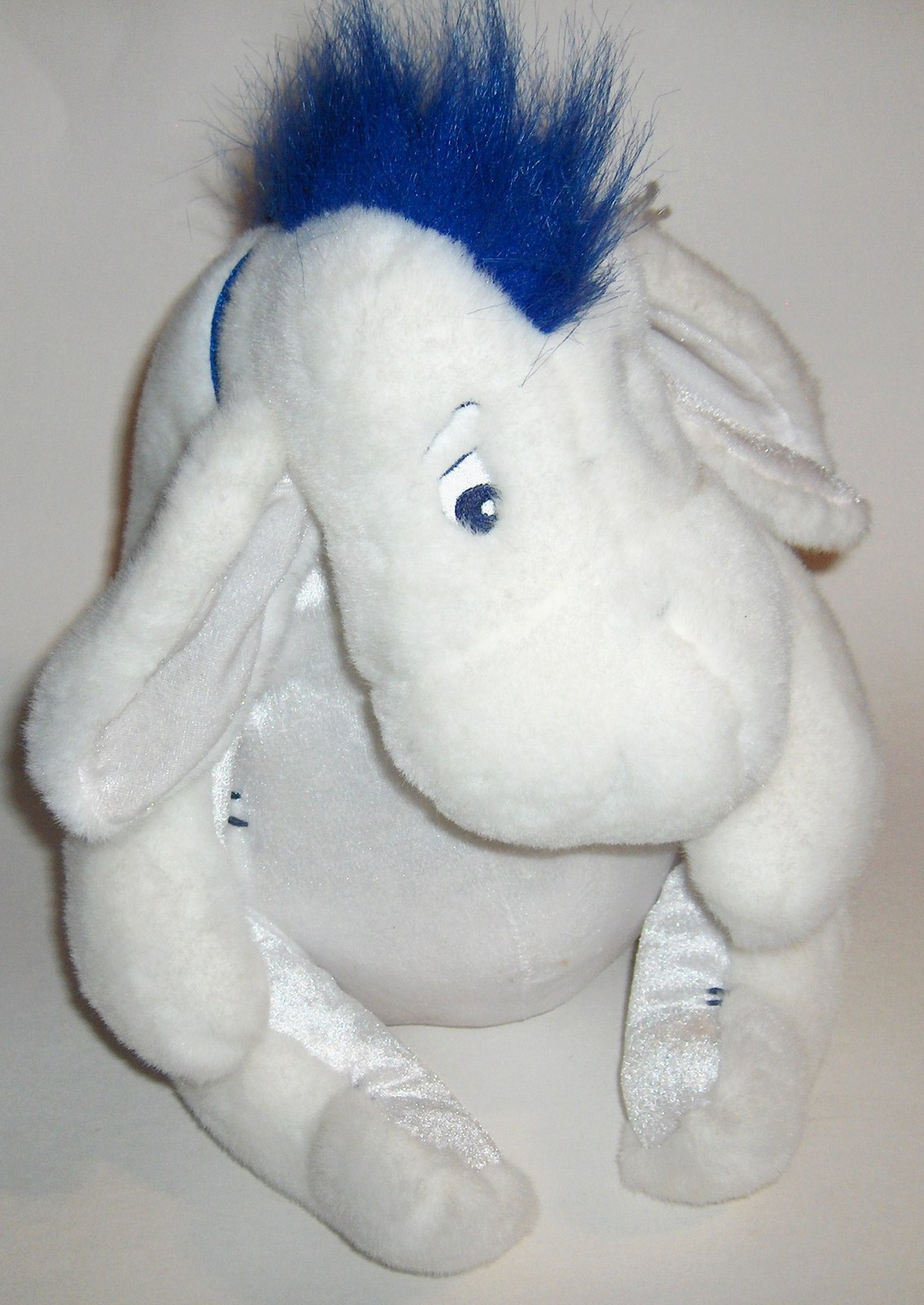 Primary image for Disney Store EEYORE Winter White Plush Blue Scarf Removeable Tail
