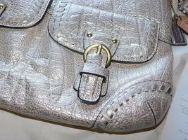 Coach Poppy Metallic Leather Whipstitch Hippie Convertible Bag 19014 Platinum image 5