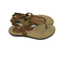Born BOC Brown Leather Casual Ankle Buckle Thong Sandals Shoes Women's S... - $14.61