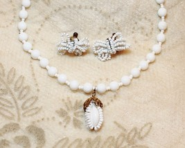 Vintage Miriam Haskell White Seed Bead Pendant Necklace Earrings Demi Set - $148.49