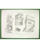JERUSALEM Palermo Italy Facade Fragments Architecture - Antique Print - $10.09