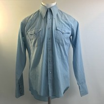 Wrangler Pearl Snap Light Blue Western Button Front Shirt Size 16-35 - $24.47