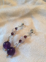 Rose Quartz and Amethyst Dangle Earrings with Swarovski Crystals  - $18.00