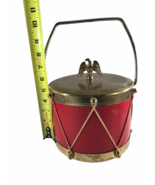 Vintage Drum Themed Ice Bucket with brass Eagle on brass lid Milk Glass ... - $14.85
