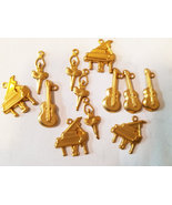 brass musical instrument charms metal music charms guitar piano gold 12 ... - $2.50