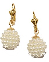 Mini Pearl 10mm Leverback Dangle Earring 18k Gold Plated French Clasp - $12.16