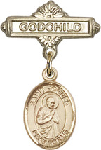 14K Gold Baby Badge with St. Isaac Jogues Charm Pin 1 X 5/8 inch - $425.00