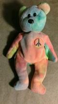 TY Beanie Baby PEACE BEAR LOVE HIPPY PLUSH STUFFED ANIMAL Retired babies... - $3.95