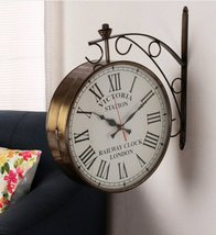 Big Copper Metal Double Sided Victoria Wall Clock - $375.00