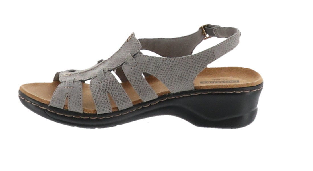 02418a371c35 Clarks Bendables Lexi Marigold Leather Sandals Grey Snake 7.5W NEW A212296