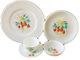 Westmoreland Milk Glass Beaded Edge Raspberry 5-pc Set Plate Teacup Saucer Bowl - $37.62