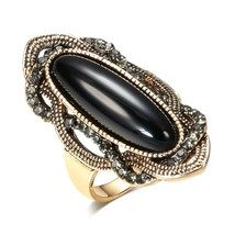 Wbmqda Top Quality Boho Black Stone Ring Antique  Color AAA Gray Crystal... - $20.09