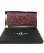 Coach Gift Boxed Signature Trifold Wallet in Wine - $128.69