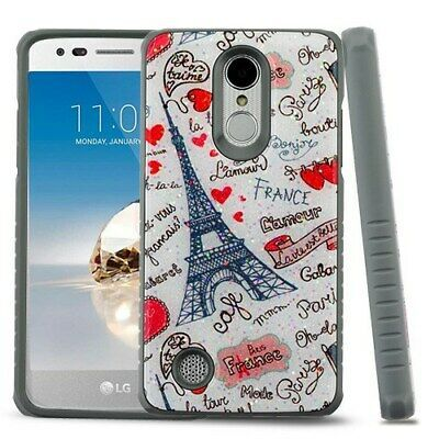 Eiffel Tower Love/Iron Gray Glitter Fusion Case for LG Rebel 2/Phoenix 3/Fortune